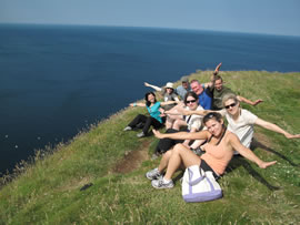 Enjoying the sunshine and gannets at Troup Head.