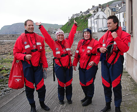 First EW team from Reed Elsevier donning the new dry suits ready for work...