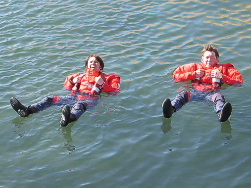 New immersion dry suits being tested by Marina and Dale